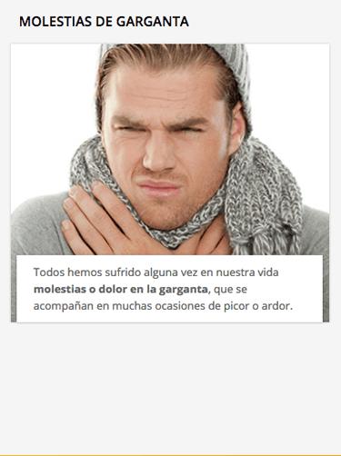 ejemplo molestias de garganta